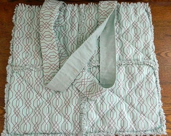 Rag Quilt Tote Bag - Handmade Cotton Blue Rag Quilt Tote Bag - Ready To Ship