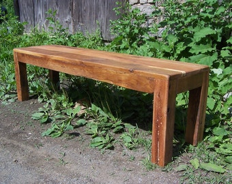 Modern Style Rustic Parsons Bench from Reclaimed Barn Wood