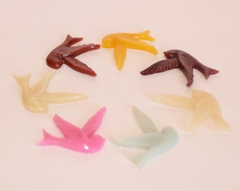 SMALL DOVE Cabochons - Lot of 24 - 33x25mm - CHOOSE your Colors