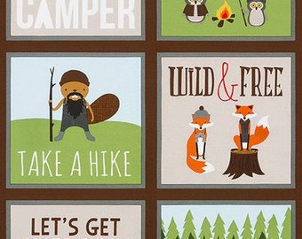 Campsite Critters Panel - Robert Kaufman - AHE-17624-169 EARTH - Camping - Camping Fabric - Outdoor Fabric - Cabin Fabric