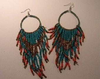 Seed Bead Hoop Earrings-Bohemian Chandelier Earrings-Beaded Dangle Earrings-Turquoise, Bronze, Red- Long Fringe Beadwork Earring Hoops-Drops