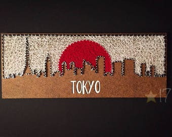READY to Ship Tokyo Skyline String Art, Japan Thread Art, Japanese Flag String and Nails Home Decor
