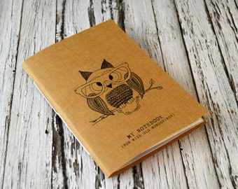 Mini Notebook, College Journal, Illustrated Owl Kraft Notebook