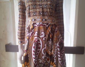 1970's - Easy Wear - Pleated Shirt dress - Bold pattern in a 70's Pallet