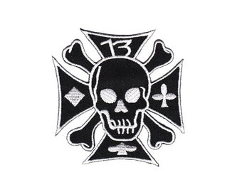 Bg29 Iron Cross Skull spades number 13 black biker tattoo patch hanger application Patch patches size 7.5 x 7.8 cm