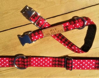 The Red Check, Personalized dog collar, red collar, red and black collar, polka dots collar, checkered dog collar, dog lover gift