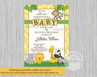 Baby Safari Jungle Animals Baby Shower Invitations, Jungle Baby Shower Invitations, Yellow Polka Dots Safari Digital Invitations