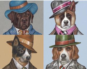 Dog Art for Gentlemen - 4 Art Prints - Brown Labrador, American Akita, Australian Cattle and Beagle - Pet Portraits by Maria Pishvanova