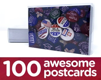 "Political Postcards: Set of 100 ""Vote"" buttons postcards, perfect for writing to your reps or get out the vote"