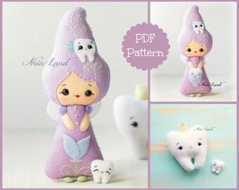 Teeth fairy. PDF pattern. Felt doll.