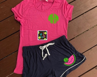 Adorable Monogram Personalized Shorts and Tee Pajama Set