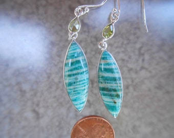 Amazonite Silver Wrapped Earrings