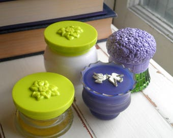 Vintage Avon Flower & Bird Cream Jars - Retro Floral Home Decor Gift Set - Purple Green White Glass Jar + Lid Vanity Display Jewelry Storage