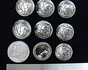 CONCHOS BUFFALO NICKEL Buttons 15mm 9/16 inch 8 pcs