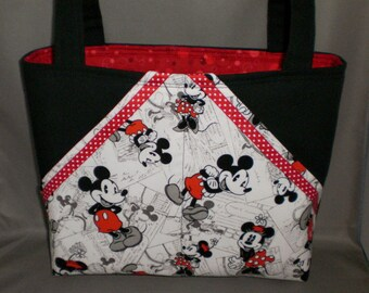 Fabric Tote Bag - Purse - Pocket Tote - Mickey Mouse - Minnie Mouse