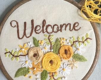 "Welcome handmade 6"" embroidery hoop"