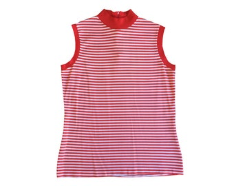 vintage / 70s STRIPED TANK / red and white / striped w/ ribbed trimmings