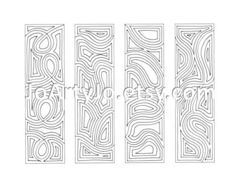 Bookmarks to Color Zentangle Inspired Instant Download Sheet 13