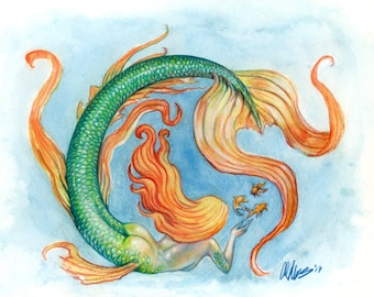 "Original Watercolor Fantasy Art  Mermaid , Nautical Ocean Painting ""Three Fishes"""
