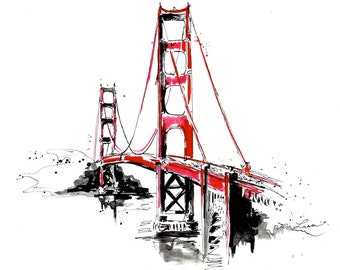 San Francisco Golden Gate Bridge Travel Print from Original Watercolor Illustration - Contemporary Home - Lana Moes Art