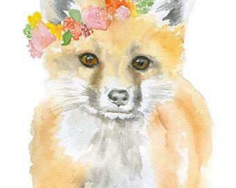 Fox Floral Wreath Watercolor Painting 11x14 Giclee Print Woodland Animal Girls Room Fine Art Nursery