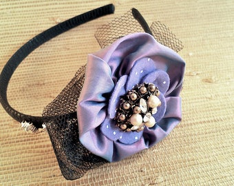 Headband, Headpiece with satin blossom and vintage jewelry parts