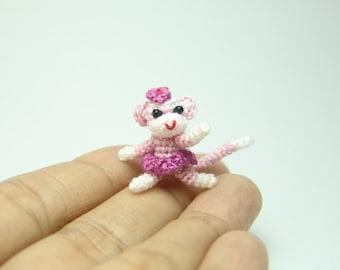 1 inch miniature sock monkey dancer - Tiny amigurumi crochet animal