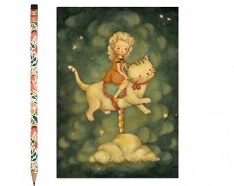 Kätzchen-Postkarte, Kätzchen-Karte, Katze, Kitty, Tier-Kunst, niedlich, Mädchen, Karussell, Sterne, Nachthimmel, Geschichte, Katze Liebhaber