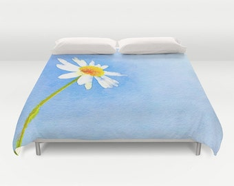 Daisy Duvet Cover, Watercolor Bedding, Flower bedding, Blue Sky Decor, Nature cover, Dorm, Happy, Sunny, Summer, Twin, Full Queen, King