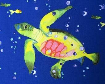 Turtle Fabric, Lakeside Fun, Dark Blue, Clothworks, Watercolor Turtles, By The Yard