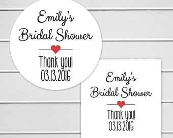 Bridal Shower Favor Stickers, Bridal Shower Stickers, Bridal Shower Wedding Labels (#006)