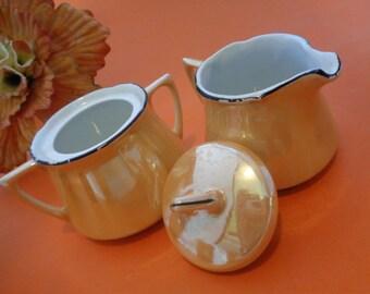 1910-1935 Vintage Leuchtenburg Made in Germany Lusterware Porcelain peach 7 Piece Tea Set