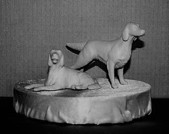 Vintage English Setter Dog Couple cake topper. White matt glaze that compliments your celebration. Retro 1960s.