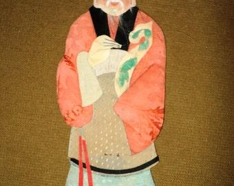 Antique Chinese Immortal Applique Silk Clothing Ancestor Handmade 1920's Asian Costume Kimono