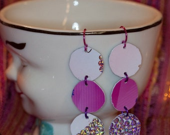 Recycled credit card earrings victorias secret sparkle