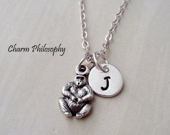 Gorilla Necklace - Personalized Monogram Initial - 925 Sterling Silver Jewelry - Small Ape Charm - King Kong Jewelry