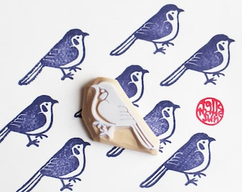 blue bird rubber stamp | woodland animal stamp | diy birthday christmas card making | gift wrapping | hand carved by talktothesun
