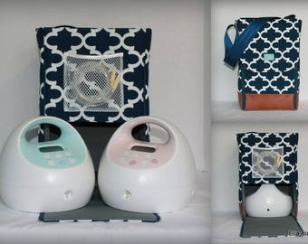 Half Size Alana style Spectra Breast pump bag in PP Fulton Navy with rust vinyl accents all sides