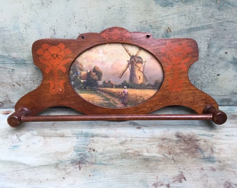 Vintage Wood Rack with Windmill Picture