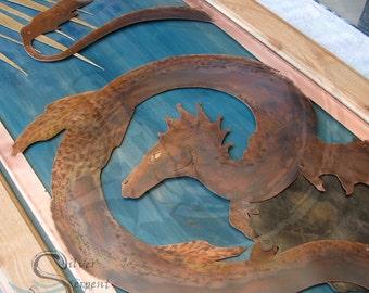 Custom Copper Panel Artwork - hand drawn, hand sawn, copper, brass, nickel, aluminum, wood frame, layered metal, textured, hammered, patina