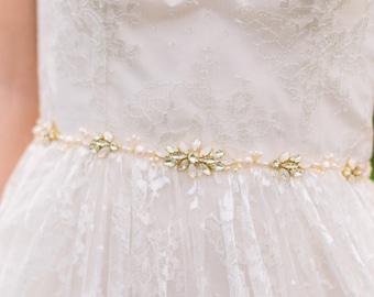 Crystal Bridal Belt Bridal Sash Crystal Belt Opal Crystal Belt Wedding Belt Pearl Belt Beaded Belt #147