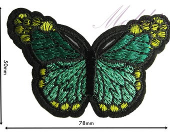 Green Butterfly Iron Sew On Embroidered Patch Badge Patches Logo Badges #035