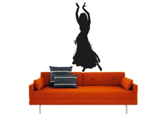 Belly Dancer Wall vinyl DECAL-middle eastern woman, sticker art, room, home and business decor