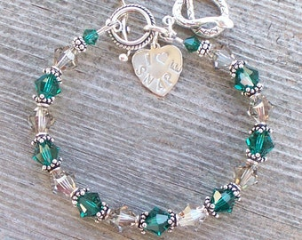 I Heart SNAPE Slytherin House Inspired Colors Bracelet with Swarovski Crystals and Sterling Silver