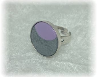 Pink and silver MICA shift - 19 mm Mica ring silver and pale pink