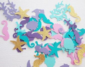 Under the Sea Confetti, Gold Glitter Mermaid Confetti, Nautical Party, Seahorse Starfish Confetti Mermaid Decorations, Table Confetti 80 Ct.