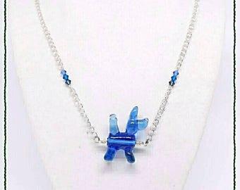 Dog Lover Blue Necklace - Balloon Animal Glass SRAJD