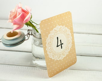 Rustic Lace Doily Wedding Table Number