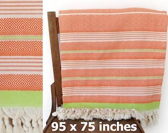 Coverlet Throw Blanket Handwoven Cotton Throw Turkish Bedspread Cotton Sofa Cover Turkish Furniture Throw Orange Green XX LARGE 240 x 190 cm