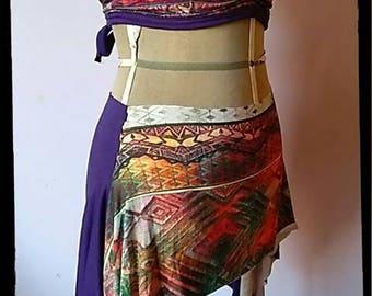 set for tribal bellydancer choli and tribal kilt ethnic multicolor fantasy